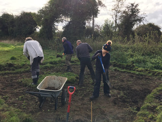 Water was the theme for Wednesday's work party at West Beckham Old Allotments