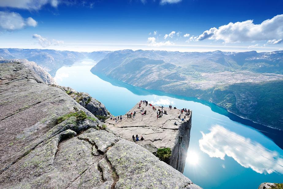 Cliff Preikestolen at fjord Lysefjord -