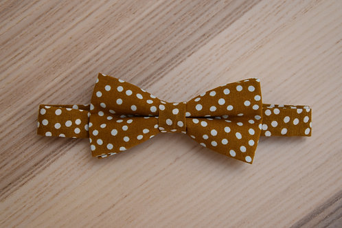 Bow tie, Dots collection, Mustard