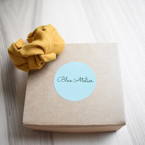 Mustard linen knotted headband