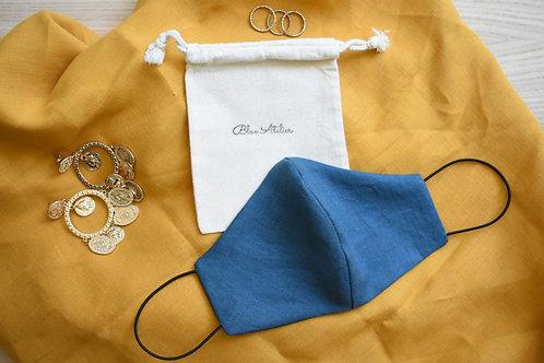 Vintage linen Teal Blue