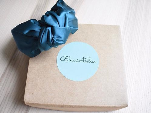 Teal blue satin knotted headband