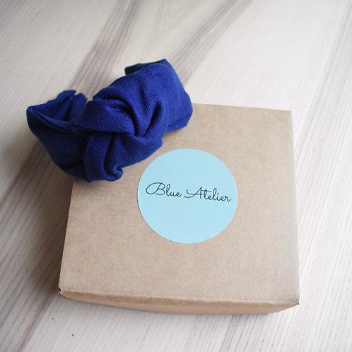 Blue linen knotted headband