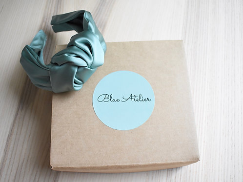 Light green satin knotted headband
