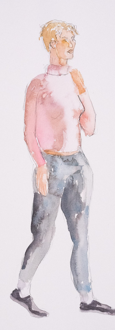 Woman in Pink Sweater