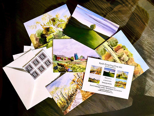 Landscape Fine Art Printed Greeting Card Set - 5 Cards