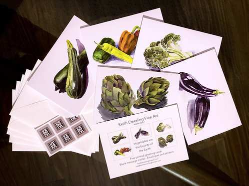 Vegetables Fine Art Greeting Card Set - 5 Cards