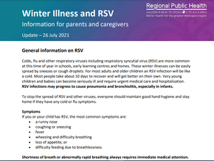 Updated information on Winter Illnesses and RSV for Schools