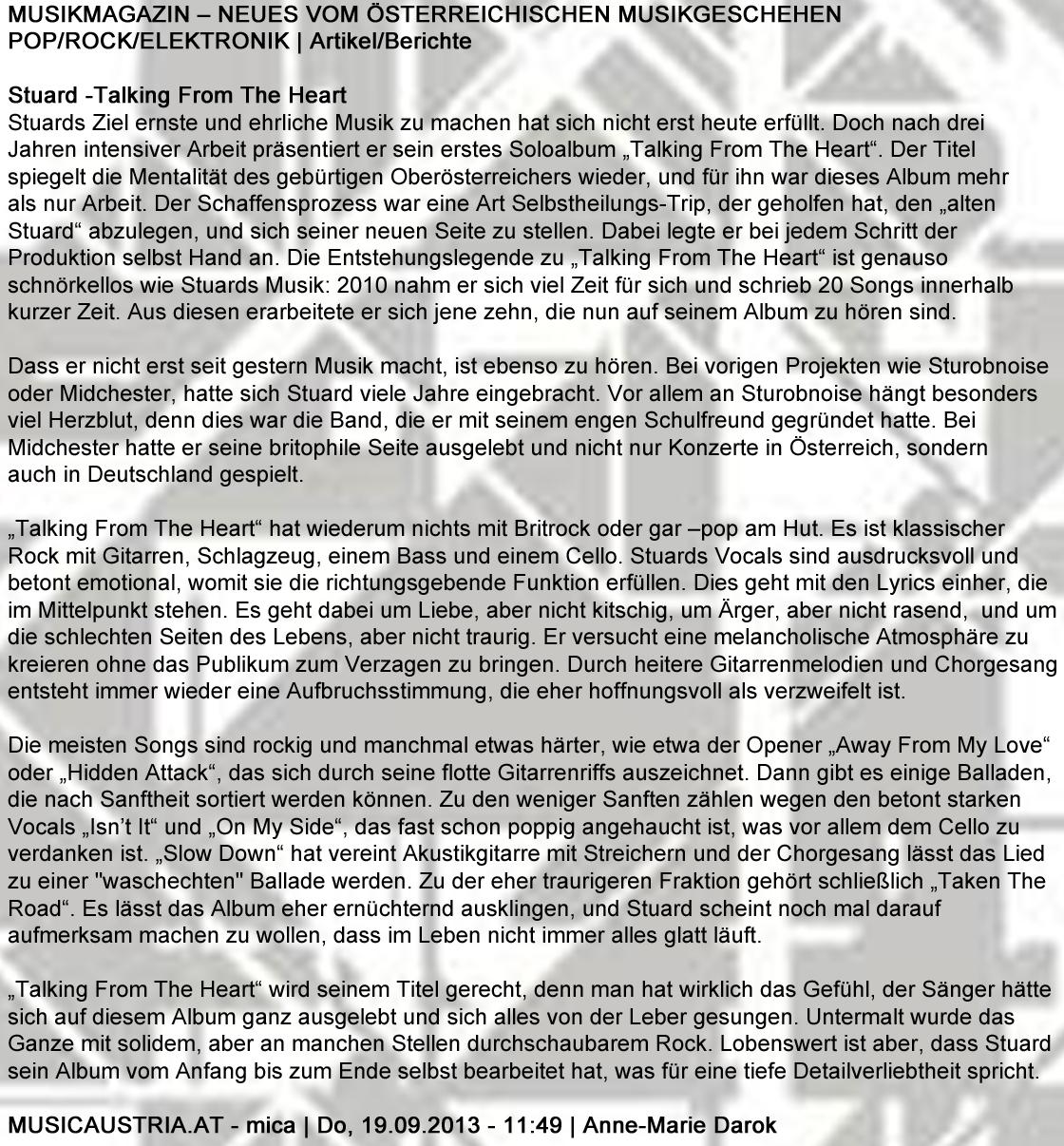 STU▲RD REVIEW mica 19.09.2013