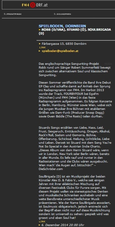 STU▲RD FM4 KonzertUpdate 04.12.2014