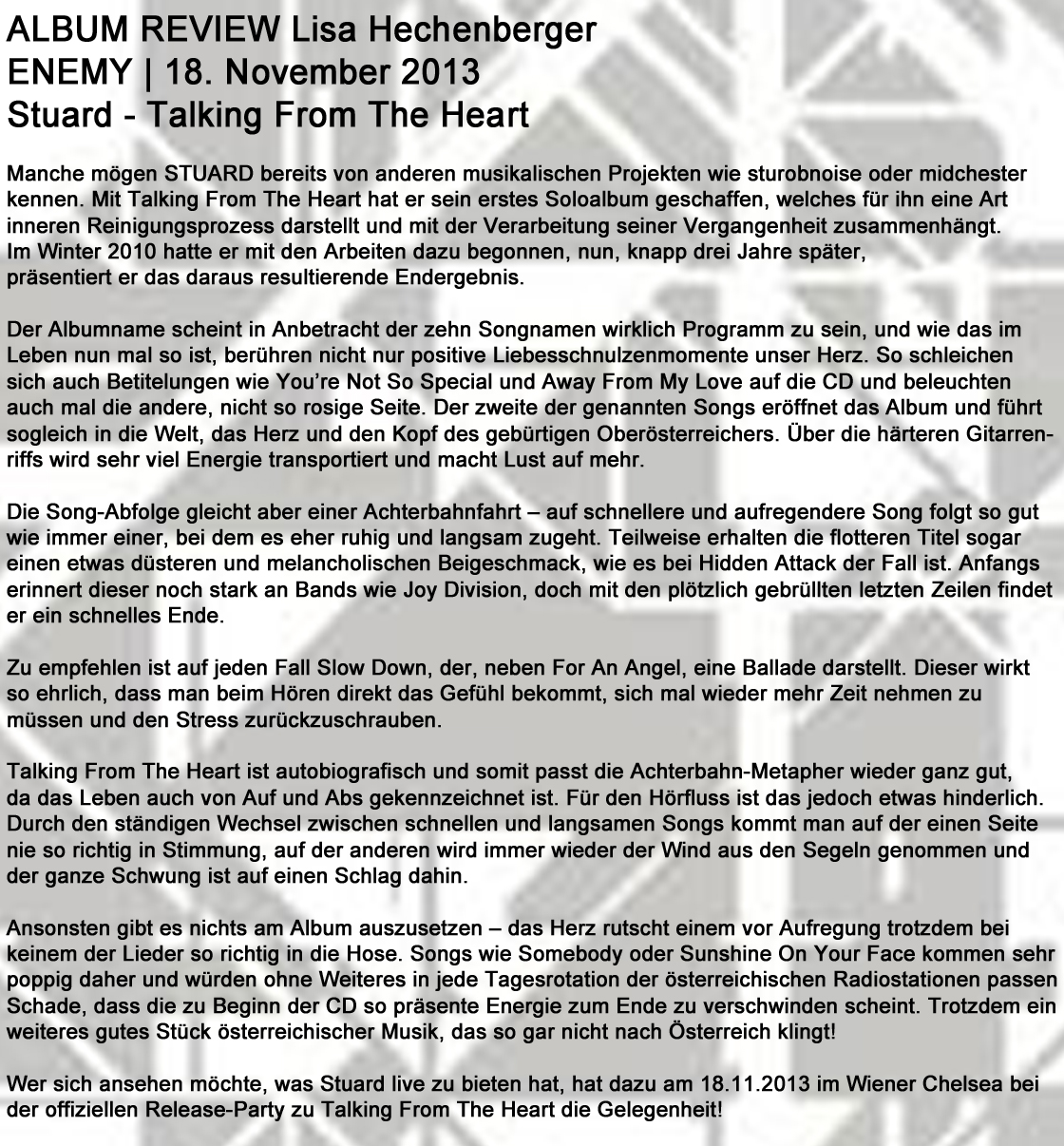 STU▲RD REVIEW Enemy Lisa Hechenberger 18
