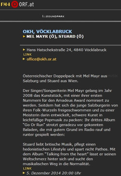 STU▲RD FM4 KonzertUpdate 03.12.2014