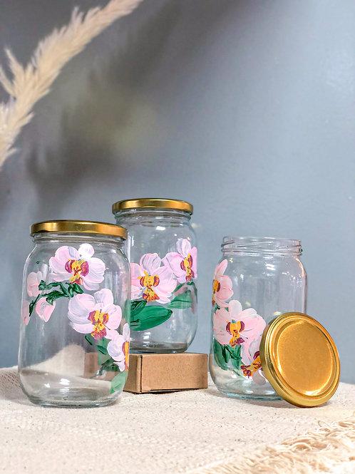 Esme Glass Cookie jar set of 3: Pink orchids
