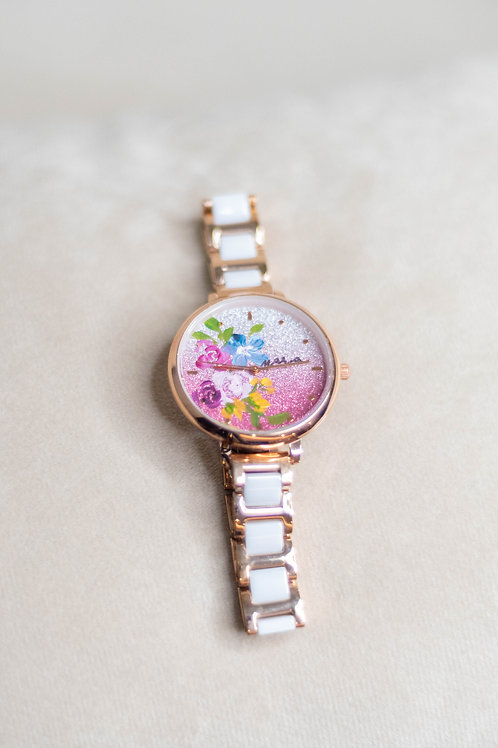 Glitter Watch 01 - Ceramic strap blue pink