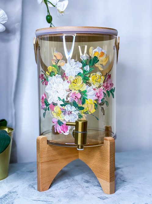 (7L) 03 Molly water dispenser: White Yellow florals +Gtap