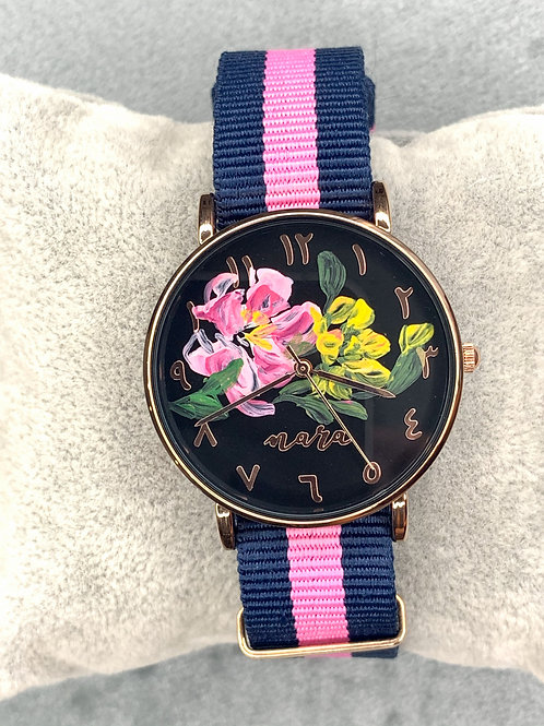 Nara Watch - Blue Pink Nylon Strap 01
