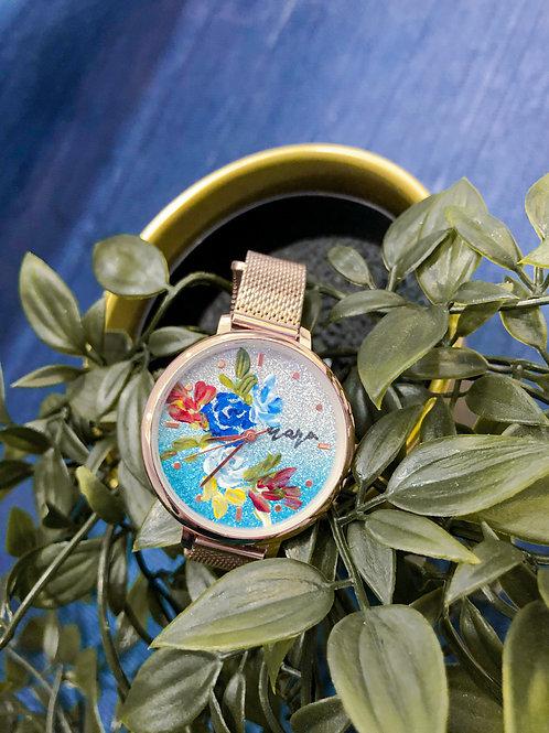Glitter Watch 01 - Rose Gold mesh strap