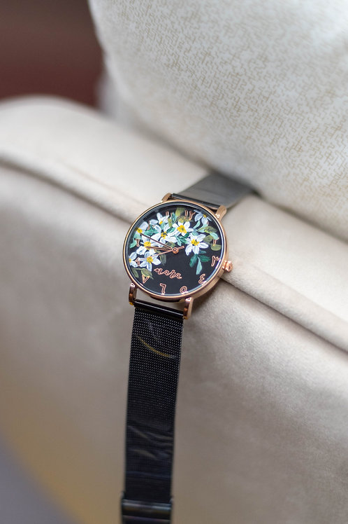 Nara Watch - Black Strap:Daisy5