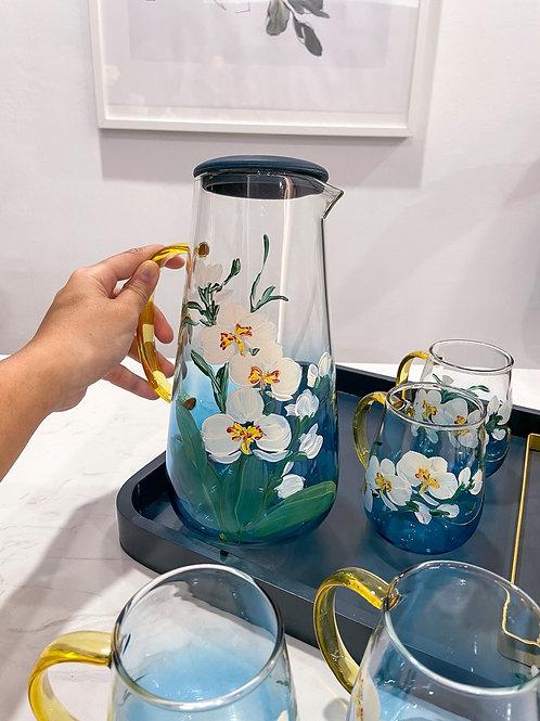 Blue jug set: 3 White Orchid