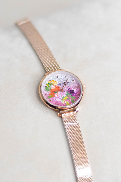 Glitter Watch 01 -Mesh strap ; OyenPurhpearl