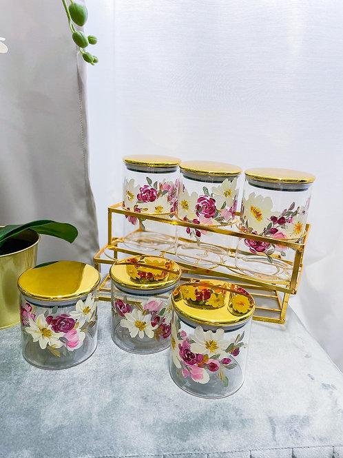 01 Glass jar set of 6 w Gold holder