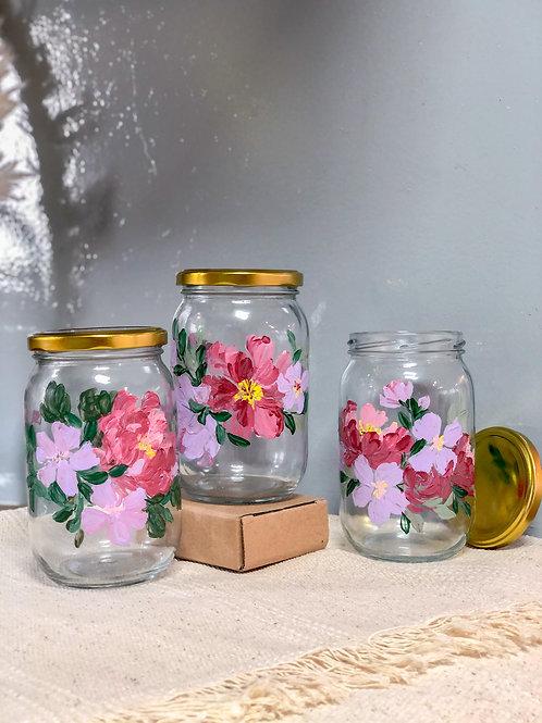 Esme Glass Cookie jar set of 3: purple pink peony
