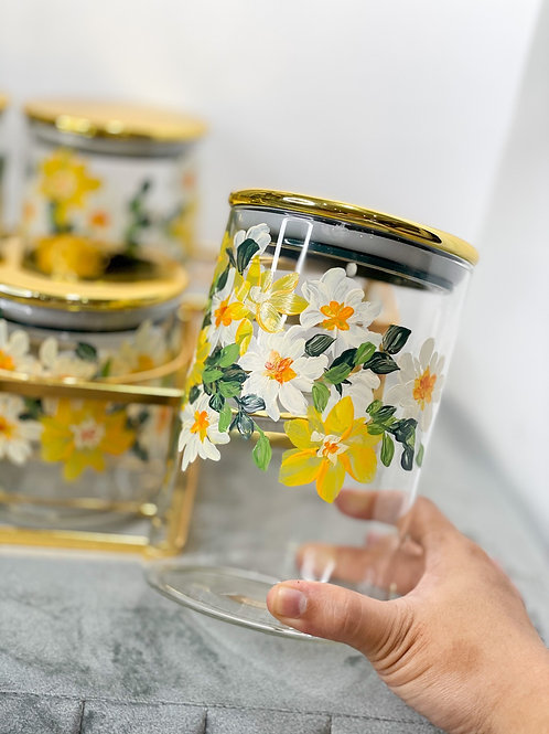 [PRE ORDER] Glass jar set of 6 w Gold holder