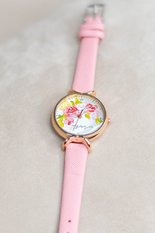 Roundy Leather strap 01 - PinkyRedGreen