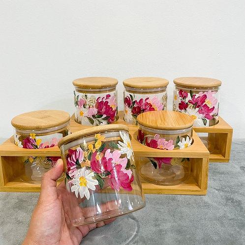 Wooden Glass jar set of 6 - Peony