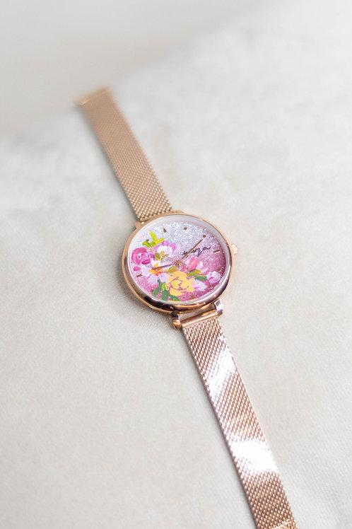 Glitter Watch 01 -Mesh strap ;YellowPinky Peony