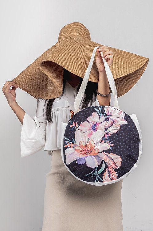 Round tote bag -Black