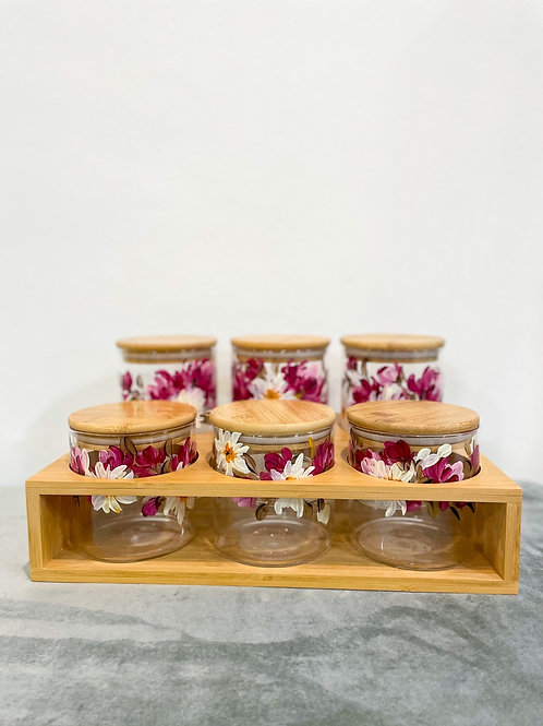 [PRE ORDER] Wooden Glass jar set of 6