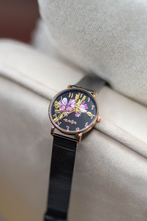 Nara Watch - Black Strap:Pink Gold