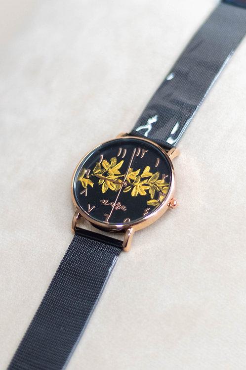 Nara Watch - Black Mesh Strap 01