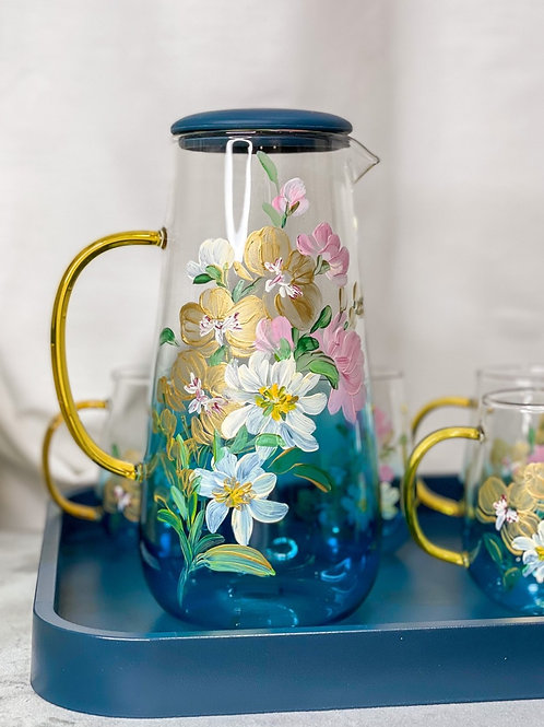 02 Le Blue jug set: Gold Orchid