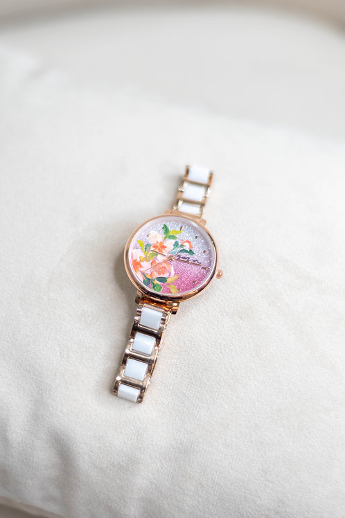 Glitter Watch 01 - Ceramic strap Orange