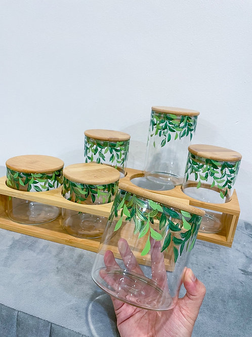 Wooden Glass jar set of 6