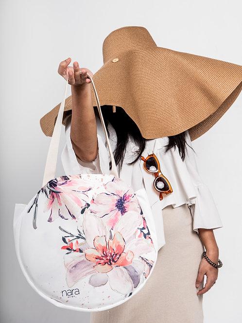 Round tote bag -white