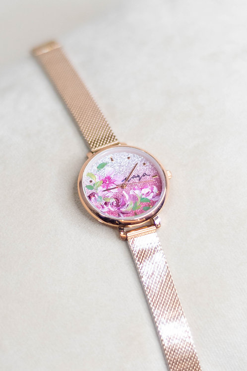 Glitter Watch 01 -Mesh strap ; Purpley