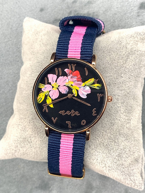 Nara Watch - Blue Pink Nylon Strap 02