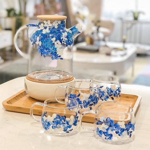 Oneisall Jug set: Blue White Hydrangeas