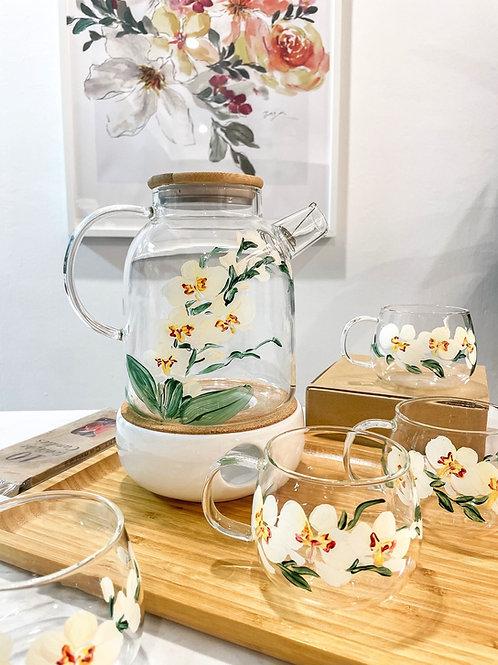 Oneisall Jug set: 4 white orchids