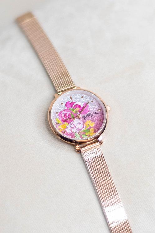 Glitter Watch 01 -Mesh strap ; PeonyRose