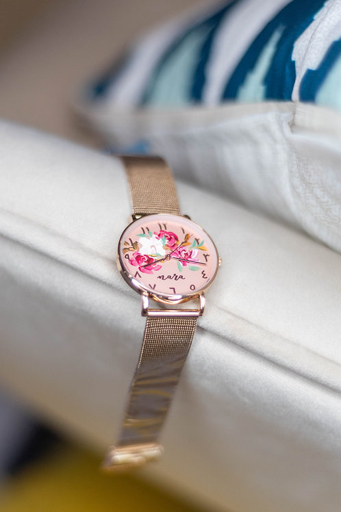 Nara Watch - Rose Gold: White red brown