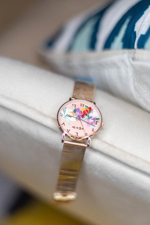 Nara Watch - Rose Gold: Purple white