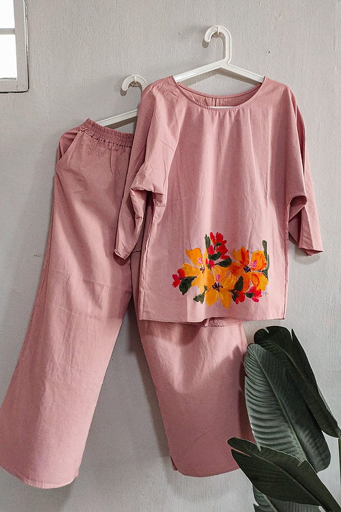 Audrey 2pc set in free size Pink Yellow