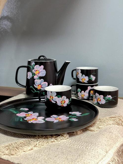 Greta ceramic set: Pink Orchids