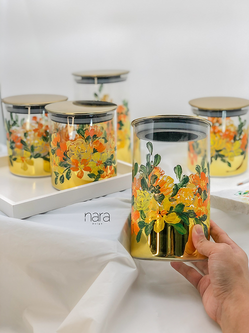 Pre-Order Gold glass storage jar set of 6