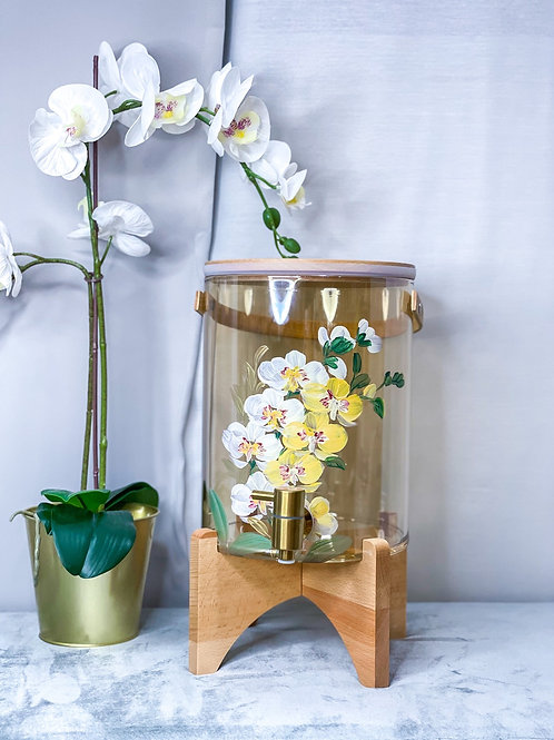 (7L) 02 Molly water dispenser: White Yellow Orchid +Gtap