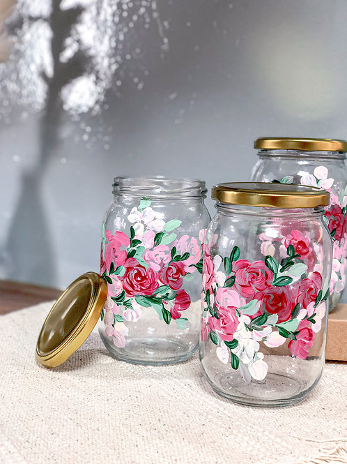 Esme Glass Cookie jar set of 3: Pink roses
